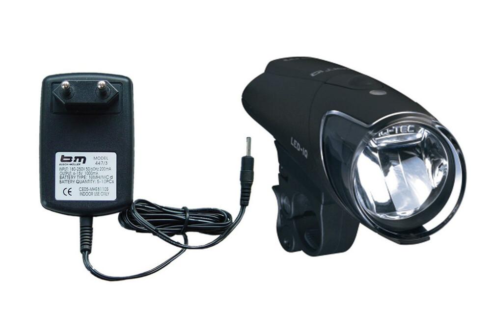 busch muller ixon iq premium clairage velo chargeur et batteries inclus noir